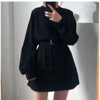 韓国風スタイル ウエストベルト カジュアル ワンピース ドレス