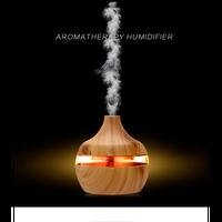 加湿器 超音波式 空気清浄機 アロマ LEDライト 7色 木目 壺型 冬の乾燥・肌荒れ・風邪・花粉症予防 オフィス オシャレ インテリア