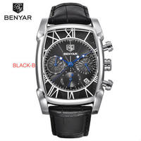 BENYARクラシック長方形 メンズ腕時計 防水 本革ストラップ クォーツ時計
