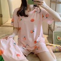 レディース 部屋着 パジャマ風 可愛い 半袖 半ズボン 2点セット Ver.4