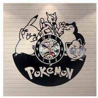 30cm レコード盤 壁掛け時計 ポケモン 人気 キャラクター エコ インテリア ディスプレイ 輸入雑貨