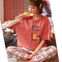 レディース 部屋着 BOOK CLUB ロゴ パジャマ風 可愛い 半袖 長ズボン