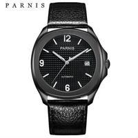 PARNIS(パーニス ) 自動巻き サファイアブラック 機械式時計 レザーバンド