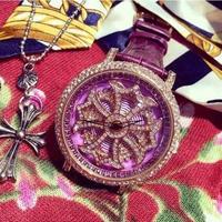 ぐるぐる腕時計 Mashali ラインストーン リアルレザー