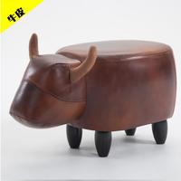 動物スツール 牛革 オットマンベンチ 椅子 アニマル コンパクト スツール