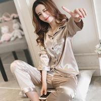 レディース シルク パジャマ 長袖 オシャレ 快眠 寝巻き 部屋着 Ver.3