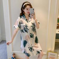 レディース 部屋着 パジャマ風 可愛い 半袖 ロングシャツ Ver.11