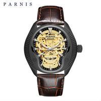 PARNIS(パーニス ) スカル腕時計 ドクロデザイン スケルトン機械式 自動巻 発光  ゴールドスカルレザー02