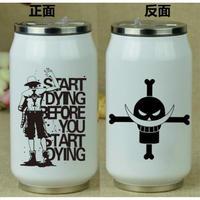 缶型アルミタンブラー ワンピース ステンレス缶型 ボトル 缶ジュース型 水筒 300mml 500mml ONE PIECE エース ホワイト シルバー