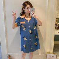 レディース 部屋着 パジャマ風 可愛い 半袖 ロングシャツ Ver.5