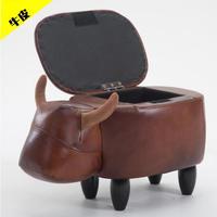 動物スツール 牛革 収納できる オットマンベンチ 椅子 アニマル コンパクト スツール