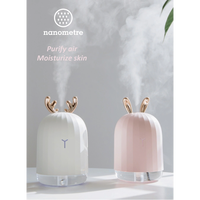 加湿器 超音波式 空気清浄機 USB 卓上 おしゃれ トナカイ 7色に光る 乾燥・肌荒れ・風邪・花粉症予防 インテリア