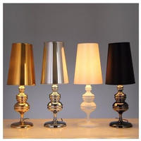 ベッドサイドランプ 黒 白 ゴールド シルバー 47×16㎝ テーブル デスクランプ 照明器具 卓上スタンド 寝室