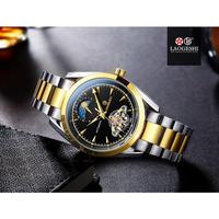 LAOGESHI 腕時計 トゥールビヨン 機械式 防水 ムーンフェイズ メンズ スチール