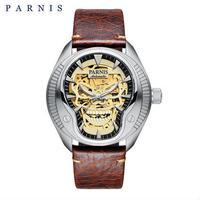 PARNIS(パーニス ) スカル腕時計 ドクロデザイン スケルトン機械式 自動巻 発光  ゴールドスカルレザー04