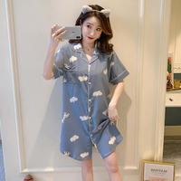 レディース 部屋着 パジャマ風 可愛い 半袖 ロングシャツ Ver.10