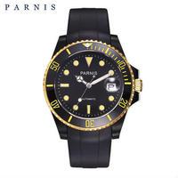 PARNIS(パーニス ) メンズ 機械式腕時計 防水 セラミックベゼル ラバーバンド
