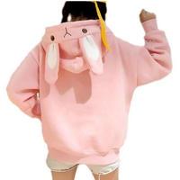 うさぎパーカー 刺繍 プルオーバー 黒 白 ピンク 秋冬 アウター フード付き