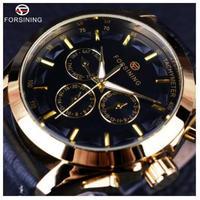 FORSINIG腕時計 自動巻き スケルトン メンズ機械式腕時計 高級ブランド レザーベルト