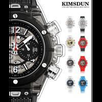 KIMSDUN 腕時計 スケルトン メンズ クォーツムーブメント