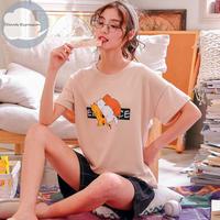 レディース 部屋着 かわいい イラスト カジュアル ホームウェア 可愛い 半袖 半ズボン Ver.20