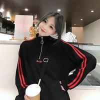 タートルネック 韓国風 ファッション 長袖 トレーナー ジッパー付き
