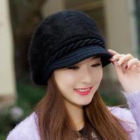 うさぎ 毛皮 ソフト帽子 新着圧熱 ニット キャップ ブラック