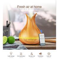加湿器 超音波式 空気清浄機 アロマ LEDライト 7色 木目 壺型 リモコン付き 冬の乾燥・肌荒れ・風邪・花粉症予防 オフィス インテリア