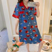 レディース 部屋着 パジャマ風 可愛い 半袖 ロングシャツ Ver.7