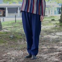 藍染ころねズボン        (備後節織 )縞藍/濃藍