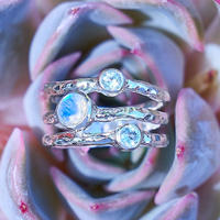Three band rainbow Moonstone &topaz jewelry