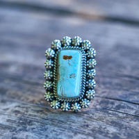 Rectangle Sky pinky Blue Dry Creek Turquoise Ring with Stamped Bead Trim