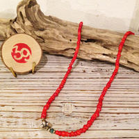 39 Sunku(サンク) ホワイトハートビーズネックレス(RED)