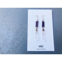 Pointed Crystal Earrings (ボルドー×グレー)