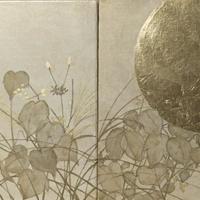 月に秋草図
