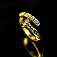 CZ diamond nail gold ring №32