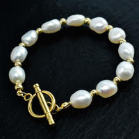 Big natural freshwater pearl mix bracelet gold