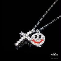 Zirconia cross & Smile necklace silver №107