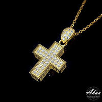 S925 22KGP CZ diamond cross necklace gold №5