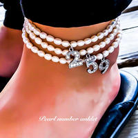 Natural freshwater pearl number anklet silver