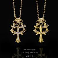S925 22kgp CZ diamond cross necklace №2