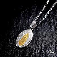 Maria coin necklace silver & gold stainless steel №12