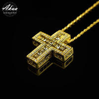 S925 22KGP separate cross necklace gold No.39
