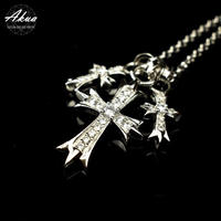 S925 CZ diamond cross necklace 3連 №44