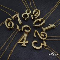 S925 22KGP CZ diamond  number necklace