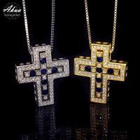 S925 22KGP separate sapphire CZ cross necklace №2