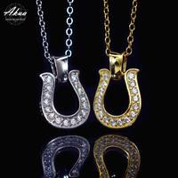 S925 22KGP CZ diamond horse shoe necklace №7