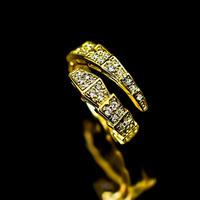 CZ diamond  snake tail gold ring №33