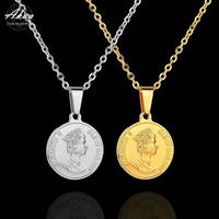 Elizabeth coin necklace stainless steel №69