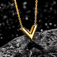 V charm necklace gold stainless steel №28